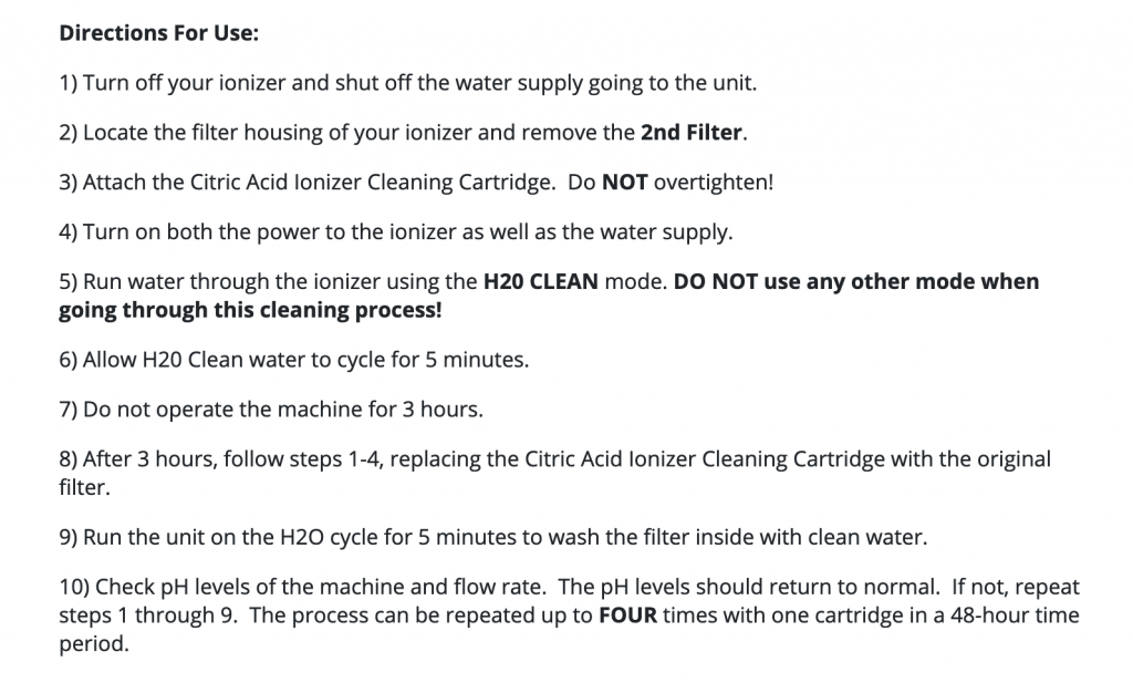 how to clean tyent ionizer
